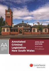 Annotated Criminal Legislation New South Wales, 2019-2020 cover