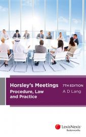 Horsley's Meetings: Procedure, Law and Practice, 7th edition cover