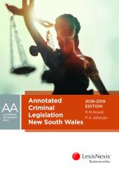 Annotated Criminal Legislation New South Wales, 2018-2019 cover