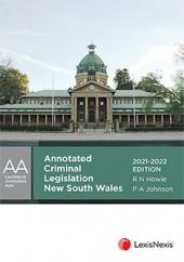 Annotated Criminal Legislation New South Wales, 2021-2022 cover